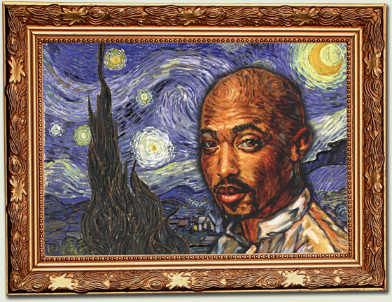 Tupac Shakur van gogh framed hip hop is read